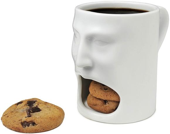 Face Mug w Cookie Cubbie - O copo perfeito para quem quer tomar café com cookies