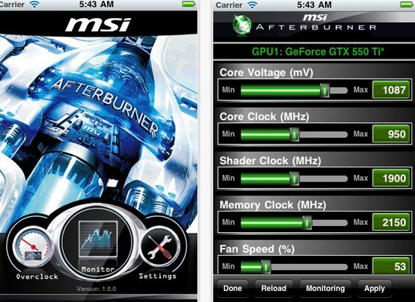 afterburner for ios - MSI Afterburner: overclock remoto no seu iPhone, iPad ou iPod